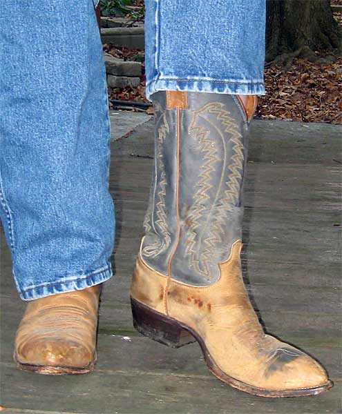 Justin Blue/Tan Distressed Cowboy Boots