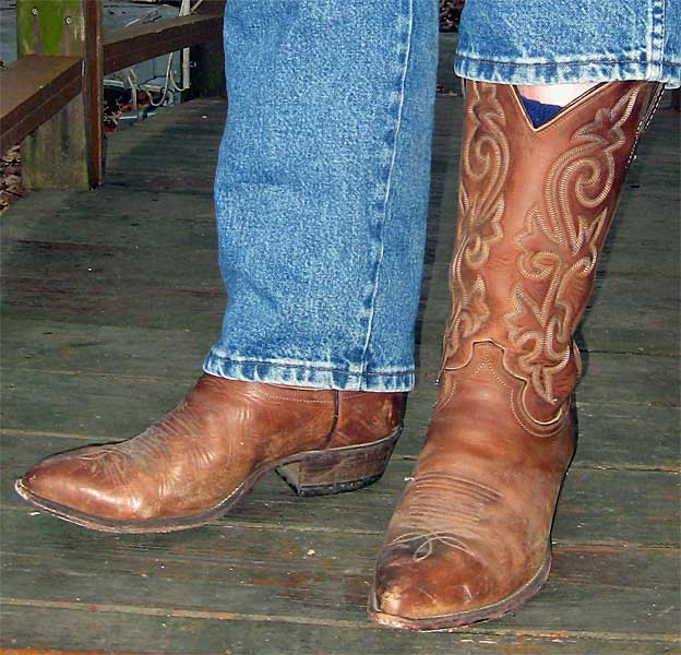 Justin Brown Distressed Cowboy Boots