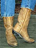 Justin Tan Distressed Cowboy Boots