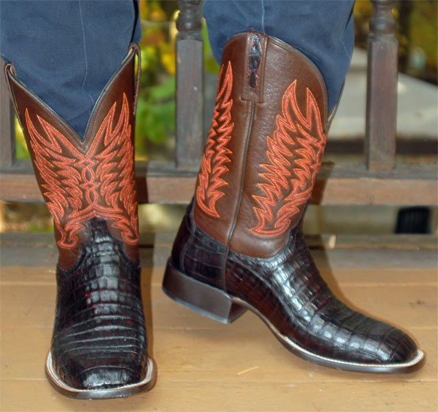 Lucchese Black Cherry Caiman Belly Short Cowboy Boots