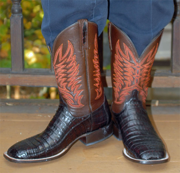 Lucchese Black Cherry Caiman Belly Cowboy Boots