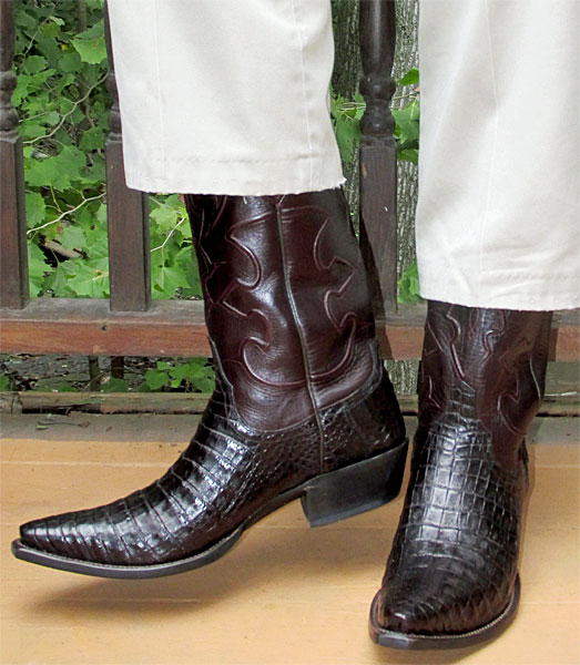 Lucchese Black Cherry Crocodile Belly Dress Cowboy Boots