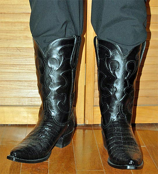 Lucchese Black Caiman Belly Cowboy Boots