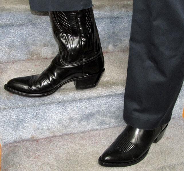 Lucchese Black Goatskin Dress Boots