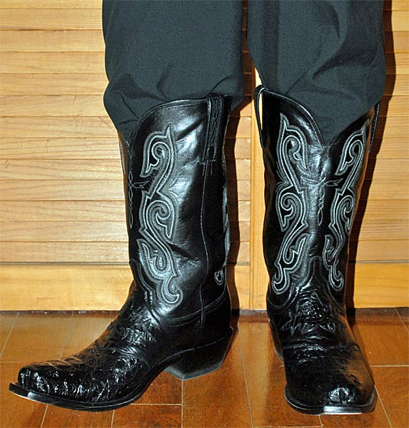 Lucchese Black Hornback Cowboy Boots