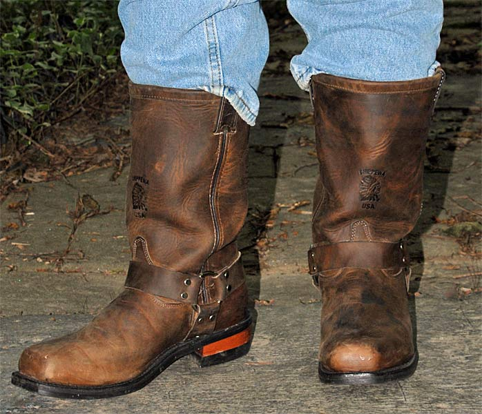 Chippewa Brown Leather Harness Boots
