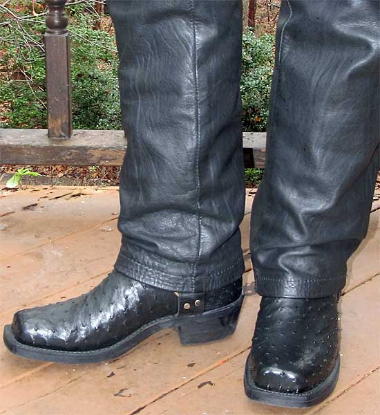 Black Chippewa Ostrich Harness Boots