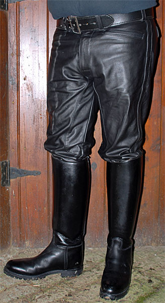 Black Leather Motorcycle Breeches