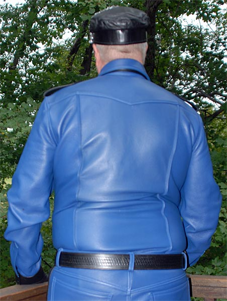Blue Black Leather Long Sleeve Police Shirt