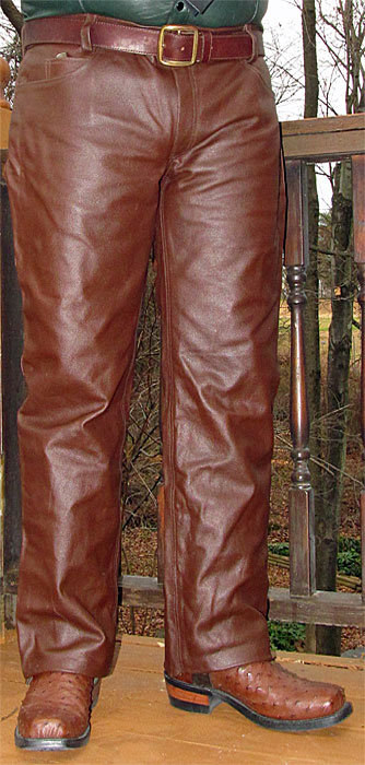 Brown Cowhide Leather Jeans