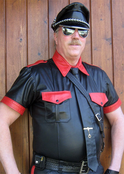 Red and Black Leather Shirt