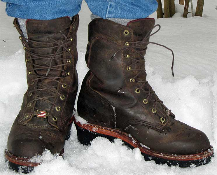Chippewa Logger Boots In Snow